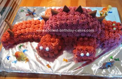Homemade Red Stegosaurus Birthday Cake