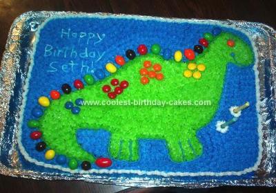 Homemade M&M Dinosaur Cake