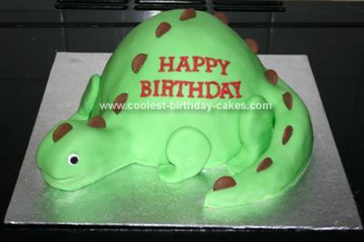 Coolest Homemade Dinosaur Cake Using The Wilton Doll Pan