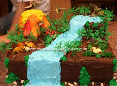 Homemade Dinosaur Land Birthday Cake