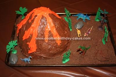 Homemade Dinosaur Land Volcano Cake