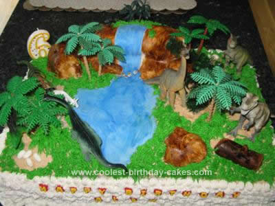 Homemade Dinosaur Scene Birthday Cake