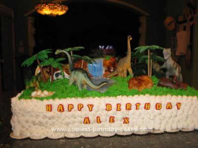 Homemade Dinosaur Scene Birthday Cake