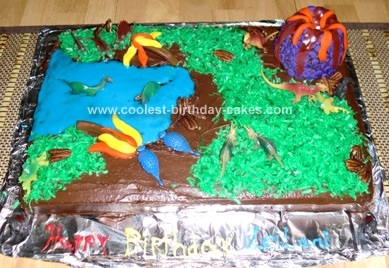 Homemade Dinosaur Scene Birthday Cake Idea 43