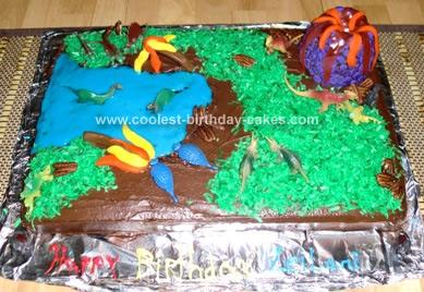 Homemade Dinosaur Scene Birthday Cake Idea 43