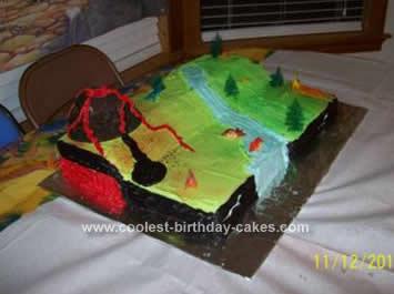 Homemade Dinosaur Scene Birthday Cake Idea