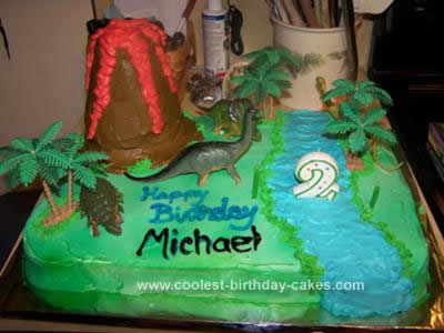 Prime Cool Homemade Dinosaur Scene And Volcano Birthday Cake Idea Funny Birthday Cards Online Alyptdamsfinfo