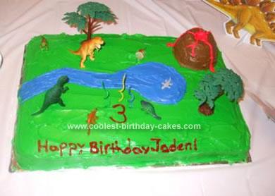 Homemade Dinosaur Scene Cake