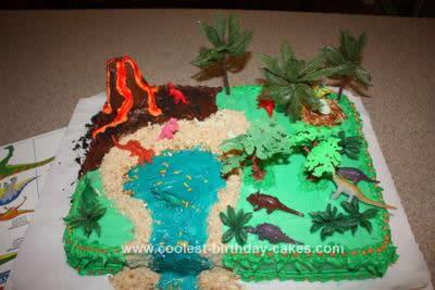 Homemade Dinosaur Scene Cake Design