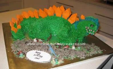 Homemade Dinosaur Stegosaurus Cake