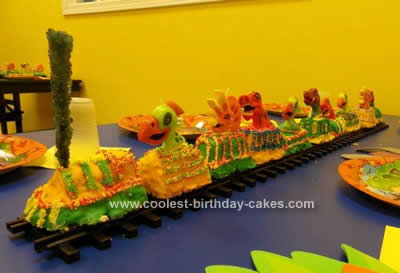 Strange Cool Homemade Dinosaur Train Cake Funny Birthday Cards Online Alyptdamsfinfo