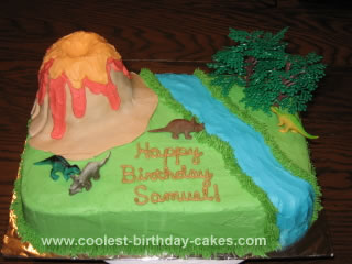 Homemade Dinosaur Volcano Cake