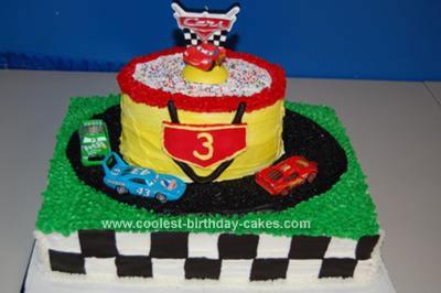 Homemade Disney CARS Race Track Cake 26