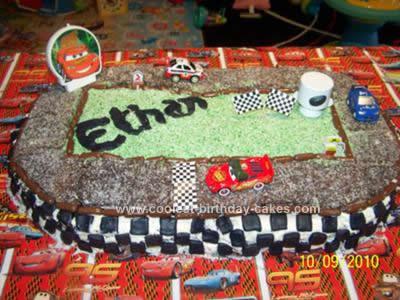Homemade Disney Cars Race Track Cake