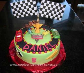 Homemade Disney Cars Racetrack Cake