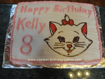 Homemade Disney Marie Cat Birthday Cake