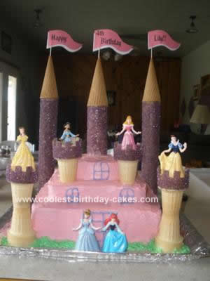 Cool Homemade 3 Tiered Disney Princess Castle Cake With Princess