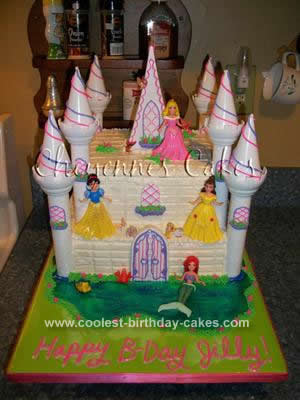 Homemade Disney Princess Castle Cake