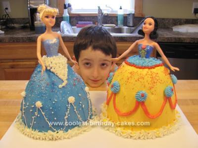 Homemade Disney Princess Doll Cakes Snow White and Cinderella