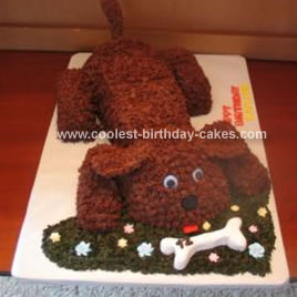 Excellent Cool Homemade Dog And A Bone Birthday Cake Funny Birthday Cards Online Alyptdamsfinfo