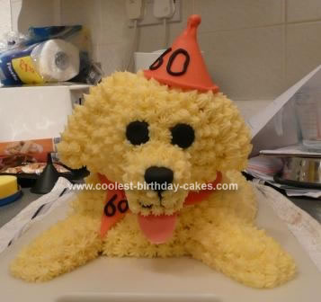Homemade Bichon Frise Dog Birthday Cake