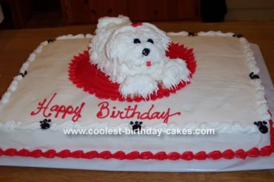 Wondrous Cool Homemade White Dog Cake Personalised Birthday Cards Paralily Jamesorg