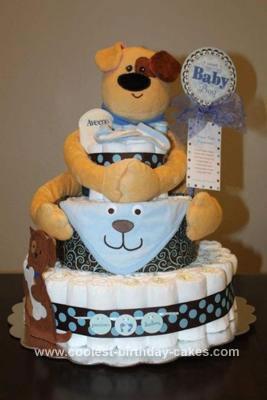 Homemade Doggie Themed Diaper Cake