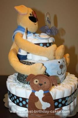 Homemade Doggie Themed Diaper Cake