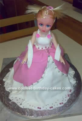 Superb Pretty Homemade Doll Dress Birthday Cake Funny Birthday Cards Online Barepcheapnameinfo