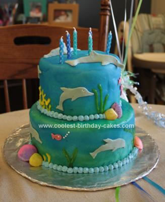 Cool Homemade 2 Tier Dolphin Birthday Cake