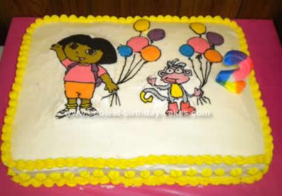 Homemade Dora and Boots Birthday Cake