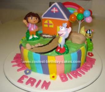 Homemade Dora And Boots Cake
