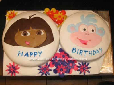 Homemade Dora and Boots Double Cake