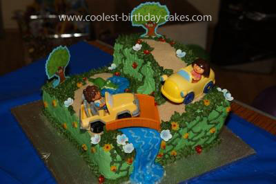 Homemade Dora And Deigo Scene Cake