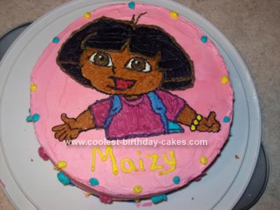 Cool Cute Homemade 2D Dora Birthday Cake Funny Birthday Cards Online Alyptdamsfinfo