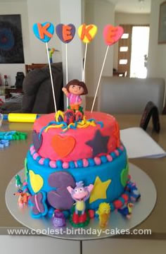 Cool Homemade 2 Tiered Dora Birthday Cake