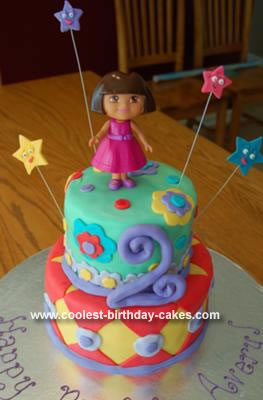 Cool Homemade 2 Tiered Fondant Dora Birthday Cake
