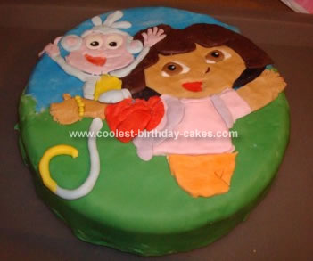 Admirable Cool Homemade Dora And Boots 2D Birthday Cake Funny Birthday Cards Online Alyptdamsfinfo