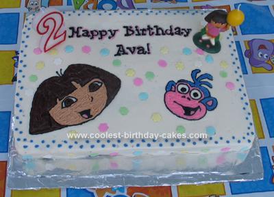 Homemade Dora & Boots Birthday Cake