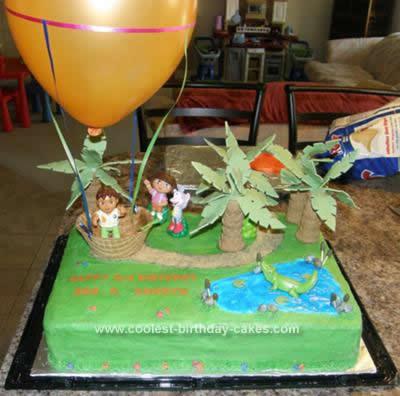 Homemade  Dora & Diego 3rd  Birthday Cake Idea