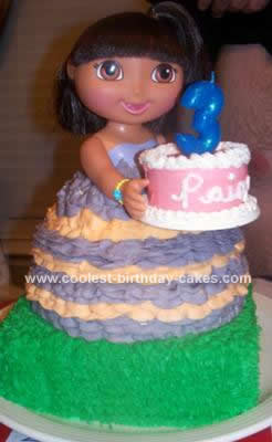 Homemade Dora Doll Birthday Cake Design