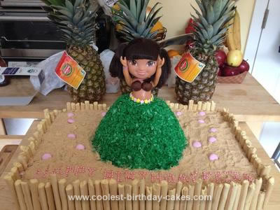 Homemade Dora Hula Dancer Cake