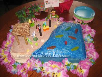 Homemade Dora Luau Beach Birthday Cake