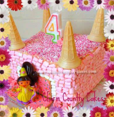 Homemade Dora Pink Castle Birthday Cake