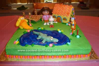 Homemade Dora Scene Birthday Cake
