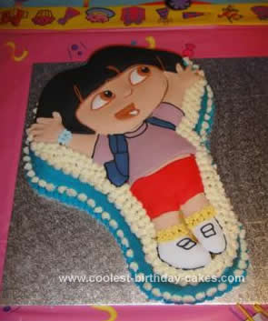 Sensational Awesome Homemade Dora The Explorer Birthday Cake Made With The Personalised Birthday Cards Veneteletsinfo