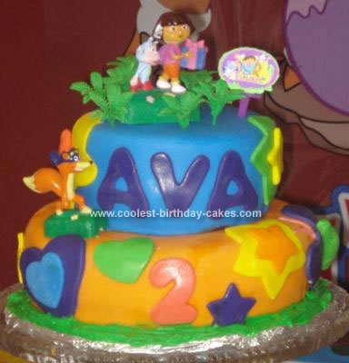 Cute Homemade Dora The Explorer Birthday Cake For A 2nd Birthday Party