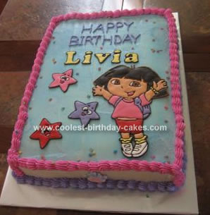 Amazing Cool Homemade Dora The Explorer And Stars Birthday Cake Personalised Birthday Cards Veneteletsinfo