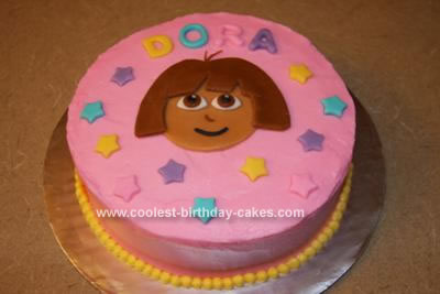 Stupendous Cute Homemade Dora The Explorer Birthday Cake And Star Cupcakes Personalised Birthday Cards Veneteletsinfo
