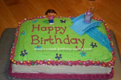 Sensational Cute Homemade Dora The Explorer Cake With Toy Toppers Birthday Cards Printable Benkemecafe Filternl